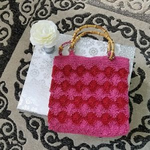 """Like new """"The Limited"""" handmade clutch.  Pink&Red"""